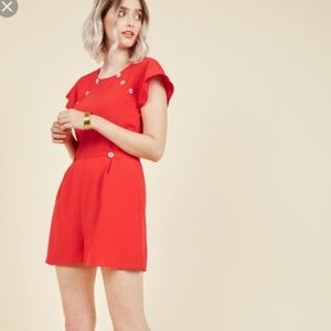 ModCloth Red Nostalgic Discovery Short 1x Romper